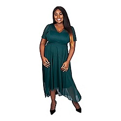 Scarlett & Jo - Green plus size tilly dipping hem pleated shoulder dress