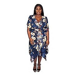 Scarlett & Jo - Navy multi plus size kimono hanky hem dress