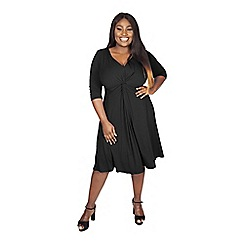 Scarlett & Jo - Black plus size lauren knot front dress
