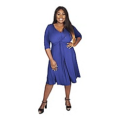Scarlett & Jo - Blue plus size lauren knot front dress