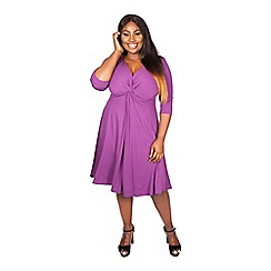 Scarlett & Jo - Purple plus size lauren knot front dress