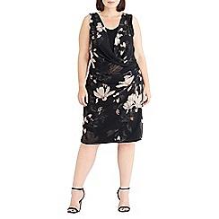 Live Unlimited - Black and mink oriental print floral dress