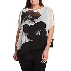 Live Unlimited - Black and white poppy print kaftan