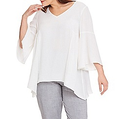 Live Unlimited - Ivory flare sleeve smock top