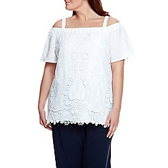 Live Unlimited - Ivory broidery anglais bardot top