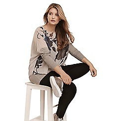 Live Unlimited - Grey shadow floral overlay top