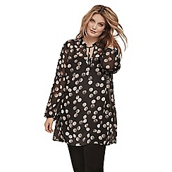 Live Unlimited - Black and white spot print blouse