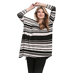 Live Unlimited - Black striped jersey poncho top