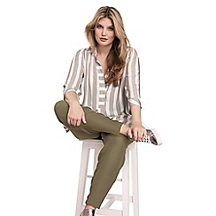 Live Unlimited - Khaki oversized stripe chambray blouse