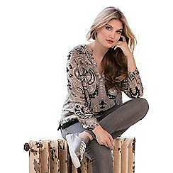 Live Unlimited - Black and grey paisley design satin blouse