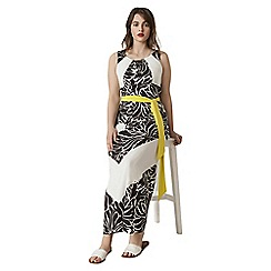 Live Unlimited - Black and white printed maxi dress with belt contrast belt