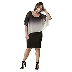 Live Unlimited - Black and grey ombre cape dress
