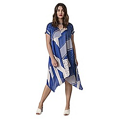 Live Unlimited - Yves blue abstract spot hanky hem dress