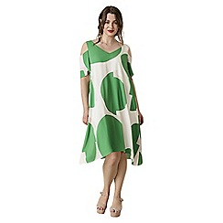 Live Unlimited - Green abstract spot trapeze dress