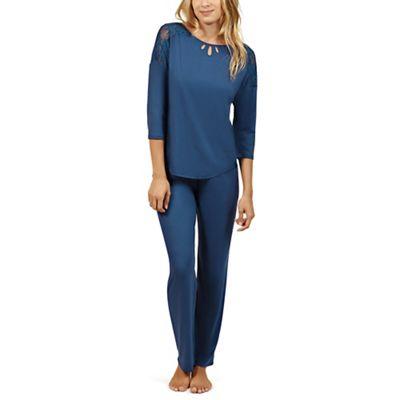 Lisca   Blue 'brigitte' Short Sleeve Pyjama Set by Lisca