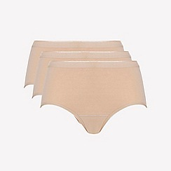 Ten Cate - 3 pack tan cotton seamless midi knickers