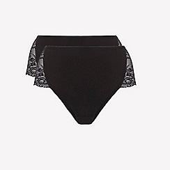 Ten Cate - 2 pack black lace side high leg knickers