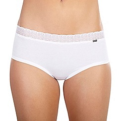 Ten Cate - White 'Luxury Cotton' lace band midi briefs