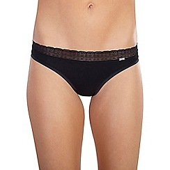 Ten Cate - Black 'Luxury Cotton' lace band string thong
