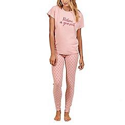 Lisca - Pink 'Power Daisy' cotton short sleeve pyjama set