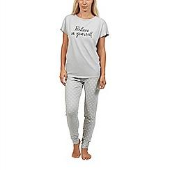Lisca - Grey 'Power Daisy' cotton short sleeve pyjama set