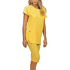Lisca - Yellow 'Flowery' cotton pyjama set