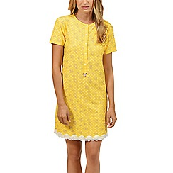 Lisca - Yellow 'Flowery' cotton short nightdress