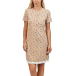 Lisca - Natural 'Flowery' cotton short nightdress