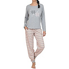 Lisca - Grey 'Nordic fun' long sleeve cotton pyjama set