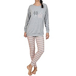 Lisca - Grey 'Nordic fun' cotton pyjama set