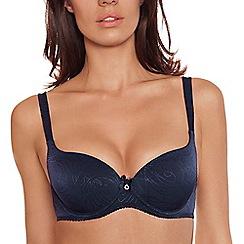 Lisca - Dark blue 'Lorella' jacquard detail foam cup t-shirt bra