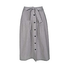Fever - Grey 'Juno' midi skirt with linen