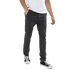 Threadbare - Charcoal 'Boston' Chino Trousers