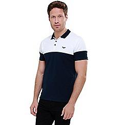 Threadbare - Navy 'Byron' Cotton Two Tone Pique Polo Shirt