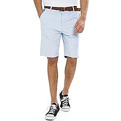 Threadbare - Blue 'Oxford' Belted Cotton Shorts