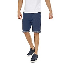 Threadbare - Navy 'Byron' Cotton Turn Up Shorts