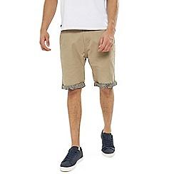 Threadbare - Stone 'Byron' Cotton Turn Up Shorts