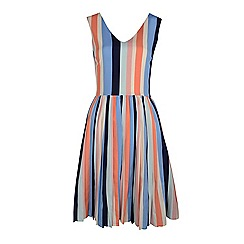 Fever - Multicoloured stripe v-neck prom dress