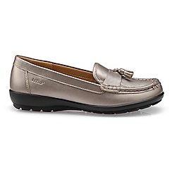 Hotter - Metallic leather 'Abbeyville' wide fit moccasin shoes