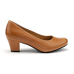 Hotter - Tan leather 'Angelica' mid heel shoes