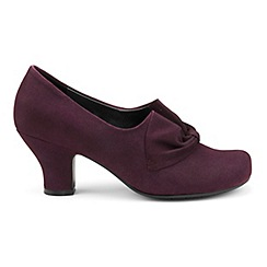 Hotter - Plum suede 'Donna' wide fit court shoes