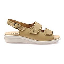 Hotter - Beige 'Easy' wide fit mid heel slingback sandals