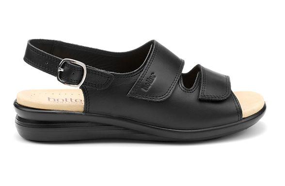 sandals mid slingback 'Easy' Black leather Hotter heel ZYRCF