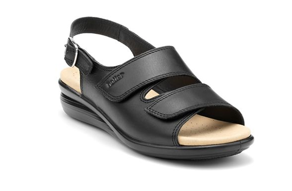 'Easy' Hotter heel mid leather slingback Black sandals TqOqEwAx