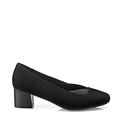 Hotter - Black 'Katya' Block Heel Court Shoes