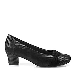 Hotter - Black 'Lizie' Wide Fit Mid Heel Court Shoes