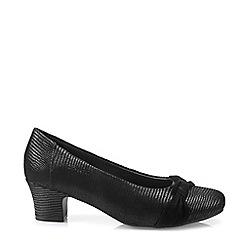 Hotter - Black 'Lizzie' Mid Heel Court Shoes