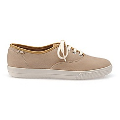 Hotter - Cream canvas 'Mabel' wide fit lace up trainers