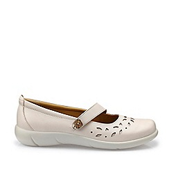 Hotter - Beige 'Peace' Wide Fit Mary Janes Shoes