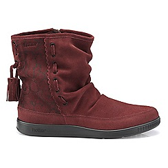 Hotter - Maroon 'Pixie' wide fit slouch calf boots